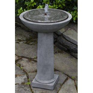 Campania International Hydrangea Concrete Leaves Birdbath Fountain