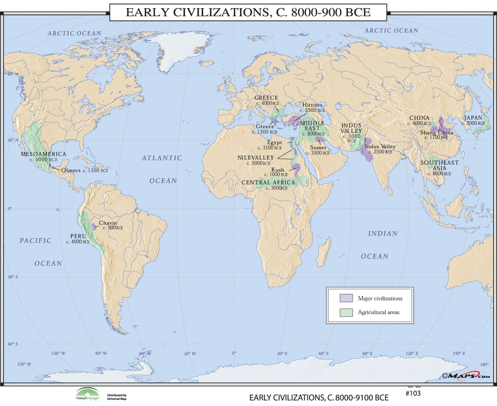 Universal Map World History Wall Maps Early Civilizations - Wall maps of the world