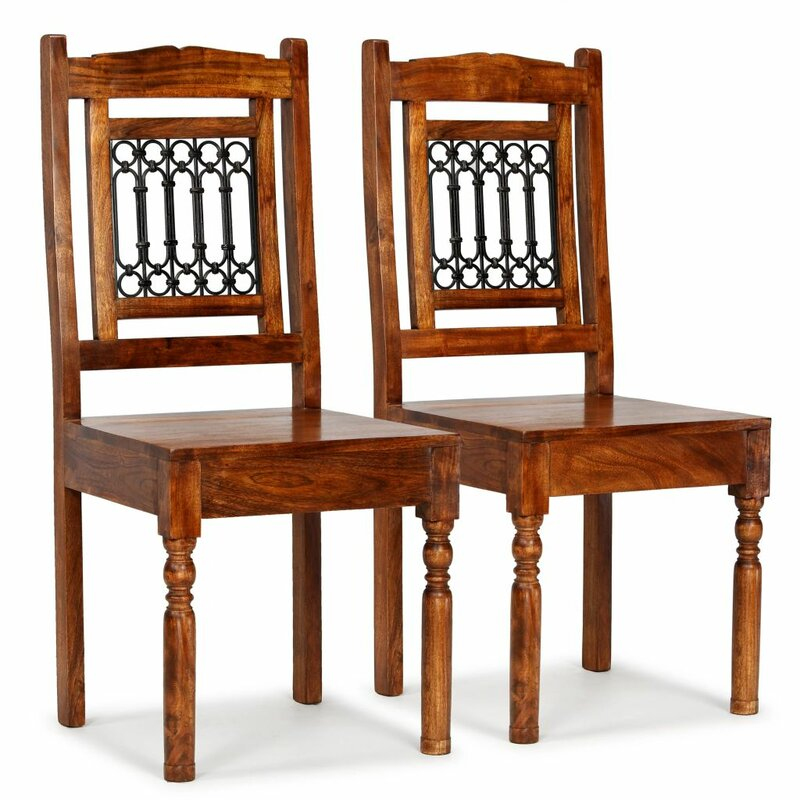 East Urban Home Oneill Solid Wood Slat Back Side Chair In Brown Wayfair