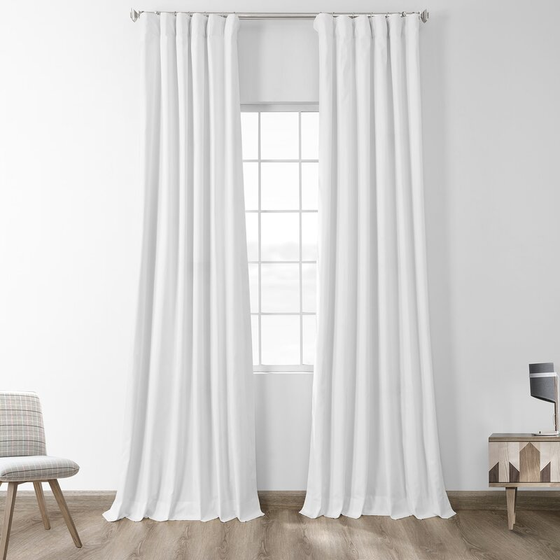 Eider Ivory Bryce 100 Cotton Solid Blackout Thermal Rod Pocket Single Curtain Panel Reviews Wayfair