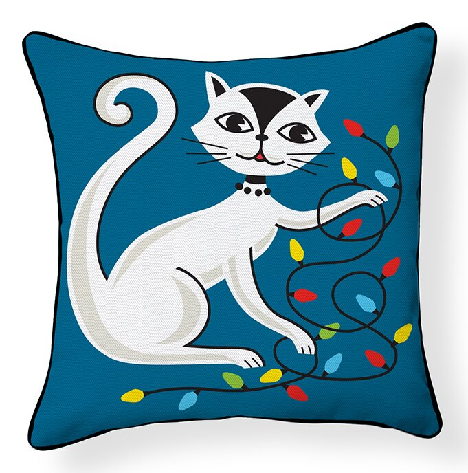 Naked Decor Cat With String Lights Indoor Outdoor Throw Pillow Wayfair