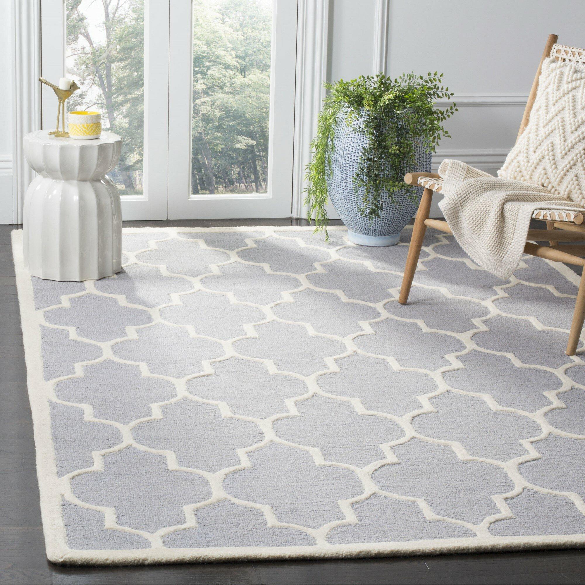 Charlton Home Brunswick Geometric Hand Tufted Wool Silver Ivory Area Rug Reviews Wayfair