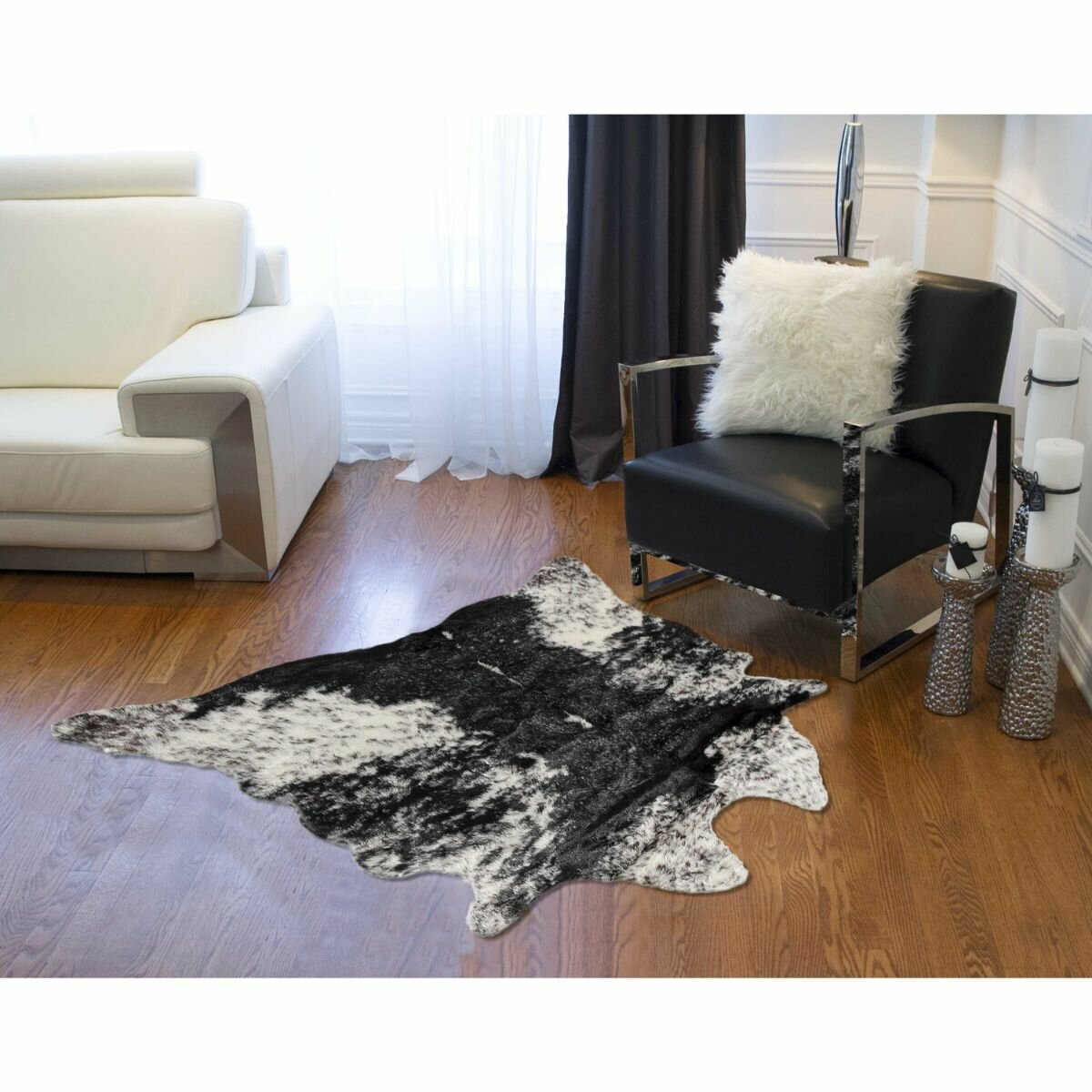 Loon Peak Embrey Animal Print Handmade Cowhide Black White Area Rug Wayfair