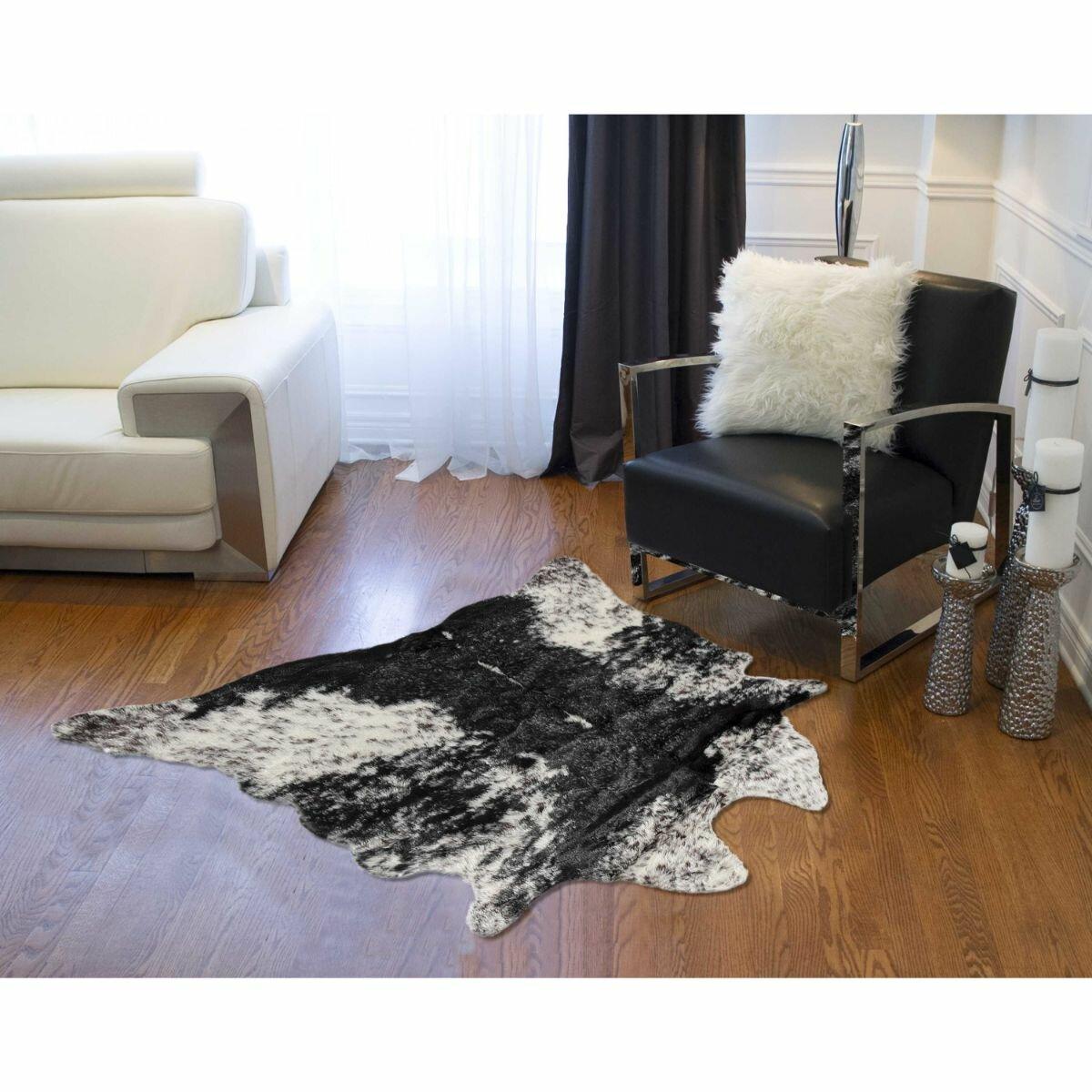 Loon Peak Embrey Animal Print Handmade Cowhide Black White Area Rug Wayfair