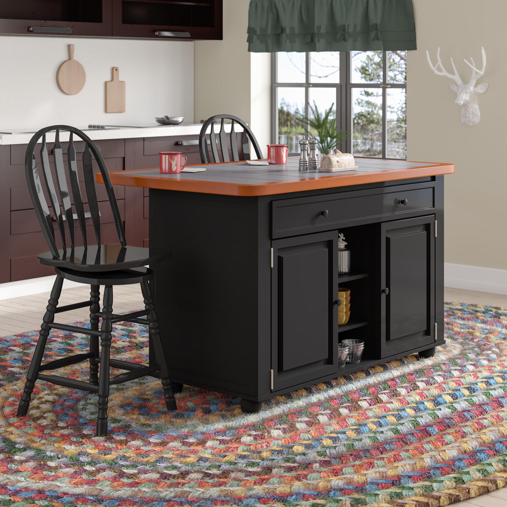 Birch Lane Dontae Kitchen Island Set With Ceramic Tile Top Reviews Wayfair