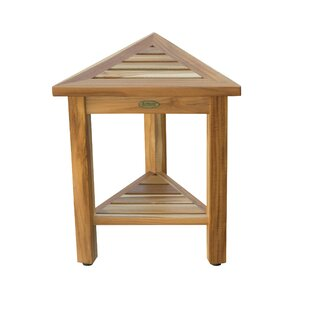 Earthyteak Flexicorner Triangle Shower Bench With Shelf