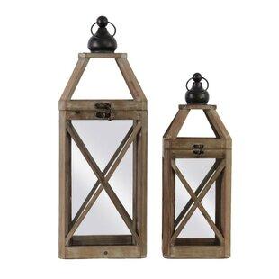 Gracie Oaks Square 2 Piece Wood Lantern Set