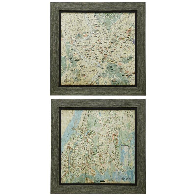 17 Stories \'2 Piece City Map\' Framed Wall Art Set | Wayfair