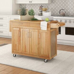 Epping Kitchen Cart with Wood Top August Grove