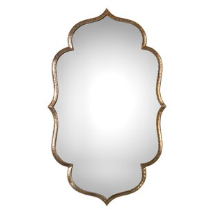 Lightly Antiqued Metallic Gold Wall Mirror by House of Hampton
