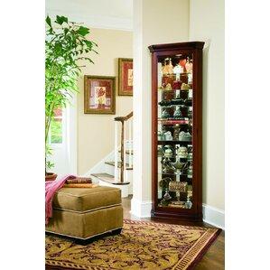 Hollingdon Lighted Corner Curio Cabinet by Three Posts