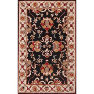 Compare prices Dearmond Traditional Agra Oriental Hand-Tufted Wool Beige/Black/Red Area Rug ByBloomsbury Market