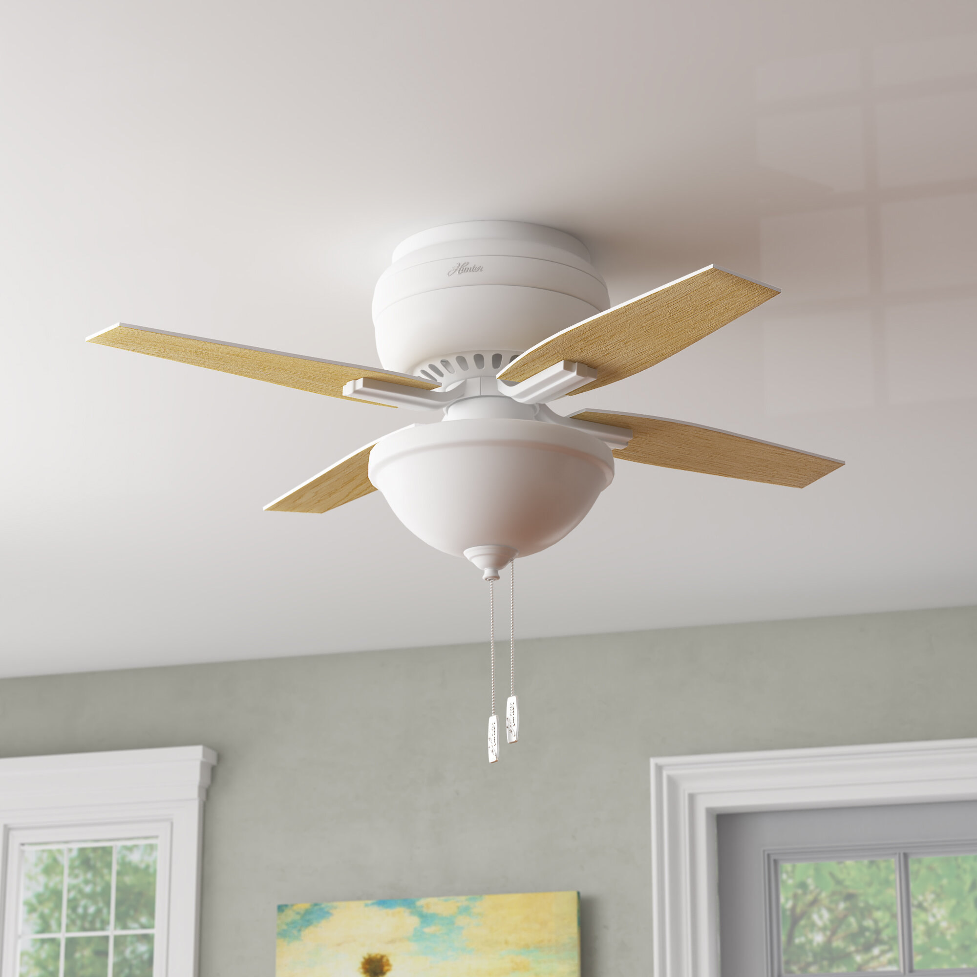 Hunter Fan 42 5 Blade Flush Mount Ceiling Fan With Pull Chain And Light Kit Included Reviews Wayfair