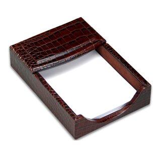 Dacasso 2000 Series Crocodile Embossed Leather 4 x 6 Memo Holder in Brown