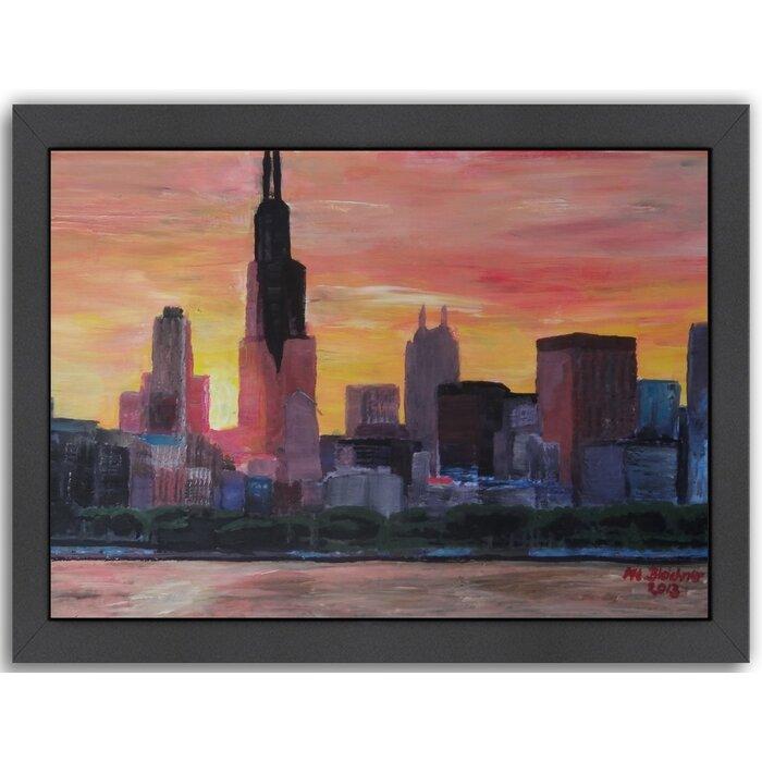Chicago Illinois Sunset Skyline CANVAS WALL ART TRIPLE Box Frame Print