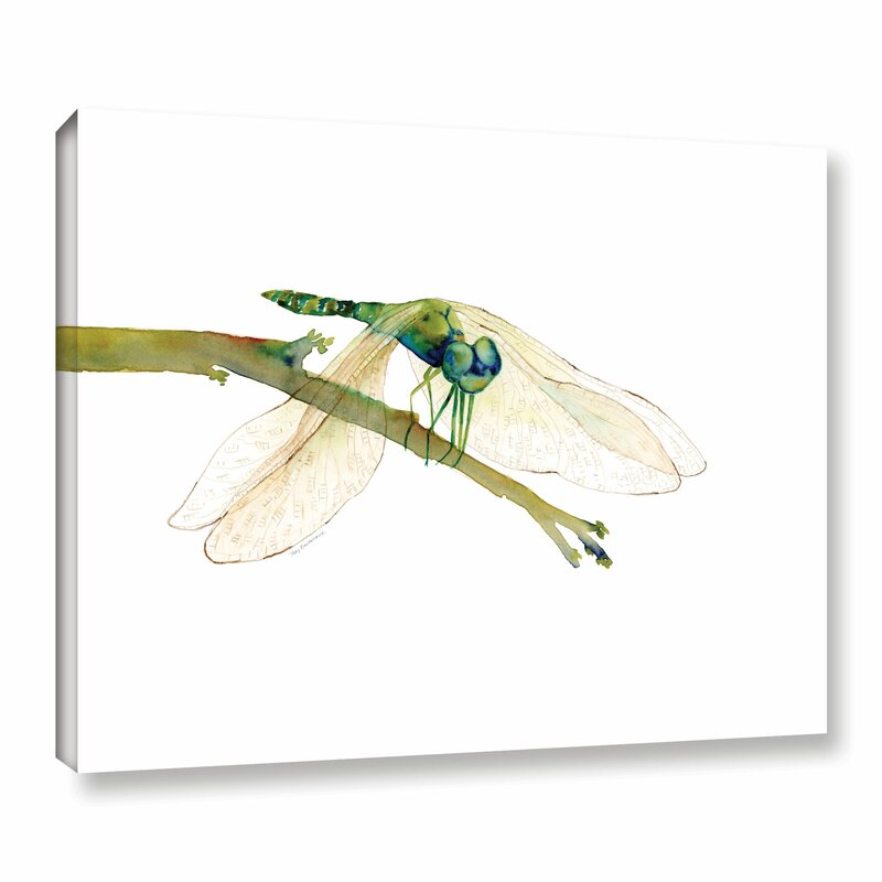 Bloomsbury Market Green Dragonfly Painting Print On Wrapped Canvas Wayfair
