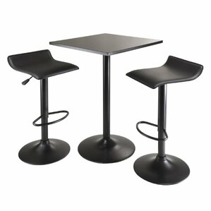 Obsidian 3 Piece Counter Height Pub Table Set by Luxury Home