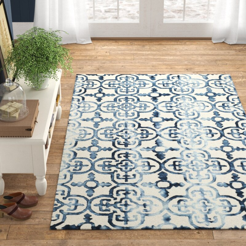 Naples Park Handade Tufted Wool Ivory/Navy Rug