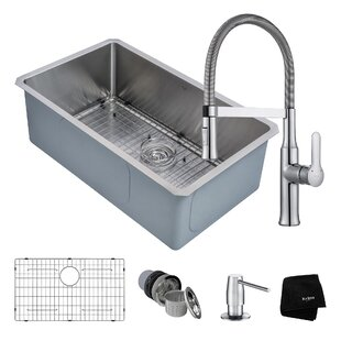 """Handmade Series 30"""" x 18"""" Undermount Kitchen Sink with Faucet and Soap Dispenser"""