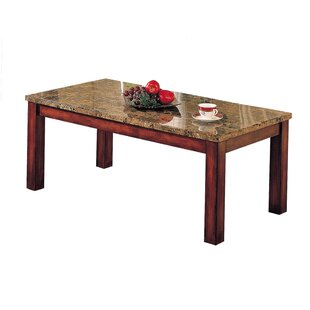 Winston Porter Matsuda Rectangular Marble Top Wooden Coffee Table