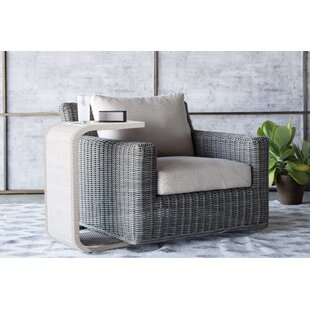 Rustic Swivel Patio Chair with Cushions