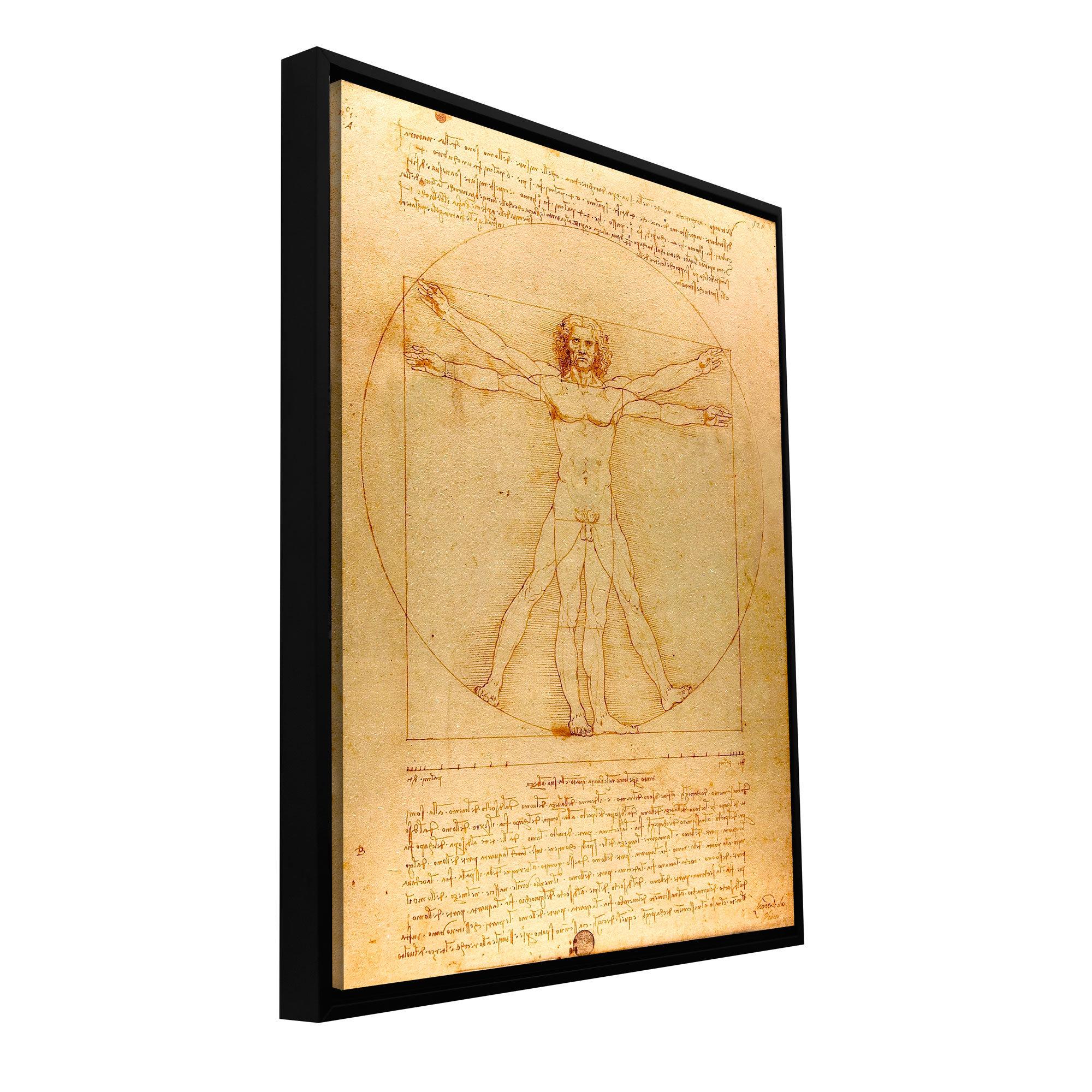 ArtWall \'Vitruvian Man\' by Leonardo Da Vinci Framed Painting Print ...
