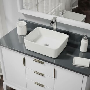 Comparison Vitreous China Rectangular Vessel Bathroom Sink with Faucet and Overflow ByRené By Elkay
