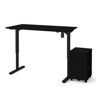 Lilian 2-Piece Electric Height Adjustable Desk Office Suite by Symple Stuff No Copoun