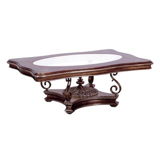 Glass Top Wooden Coffee Table With Traditional Pedestal Base, Brown by Astoria Grand SKU:CA710541 Price Compare