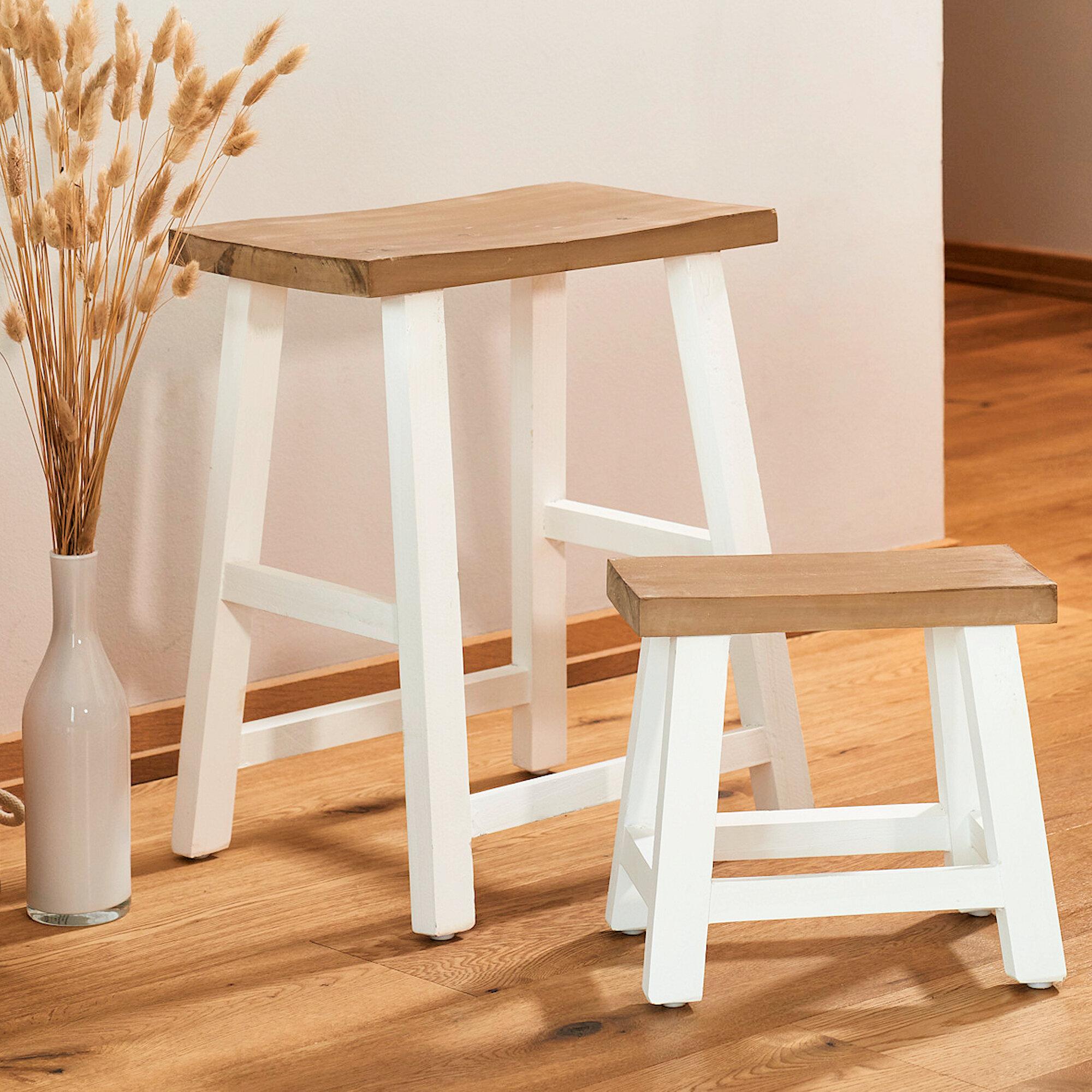 Gracie Oaks Heitman Solid Wood Accent Stool Wayfair