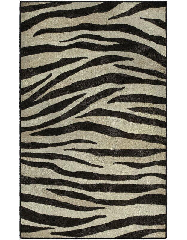 World Menagerie Metzger Zebra Stripes Animal Print Black/Ivory Area Rug, Size: Rectangle 76 x 10