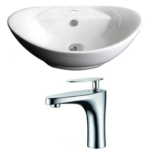 Great Price Ceramic Oval Vessel Bathroom Sink with Faucet and Overflow ByAmerican Imaginations