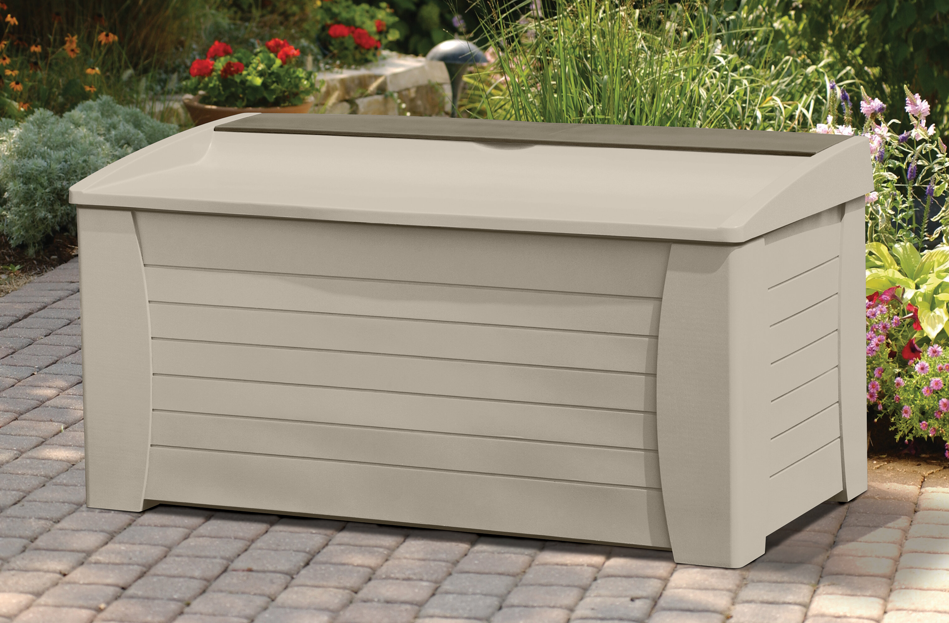 shed chest pool backyard patio bins wicker cabinet balcony wooden storage small bin boxes outdoor wood exterior rubbermaid deck box sale bench garden