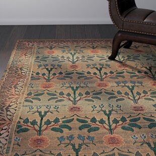 Rosabel Floral Green/Brown Area Rug by Bloomsbury Market