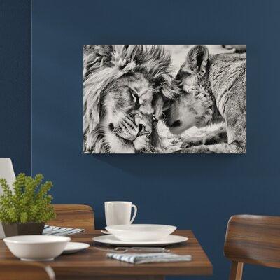 Leinwandbild Kuschelnde Löwen in Monochrom | Dekoration > Bilder und Rahmen | Home Loft Concept