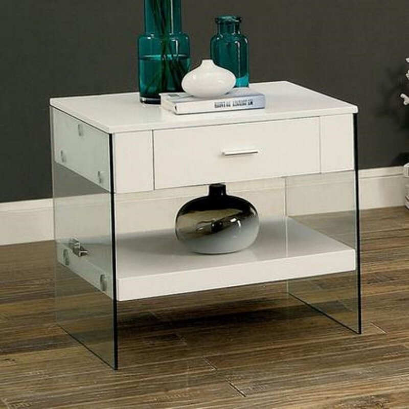 Orren Ellis Coblyn Sled End Table With Storage Wayfair