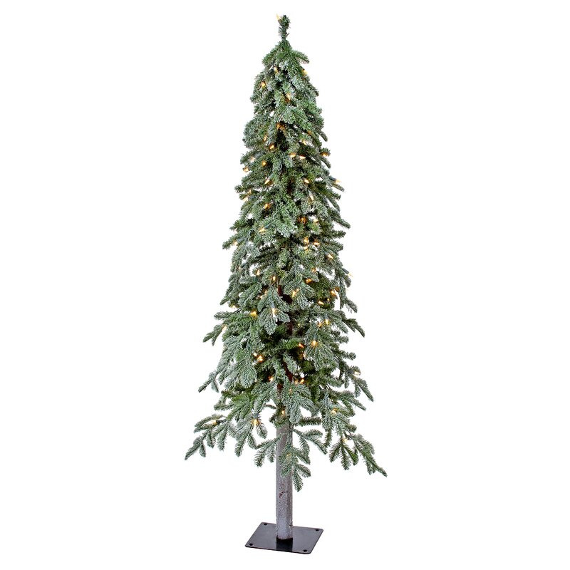 5 frosted green alpine artificial christmas tree with 150 clear lights with stand