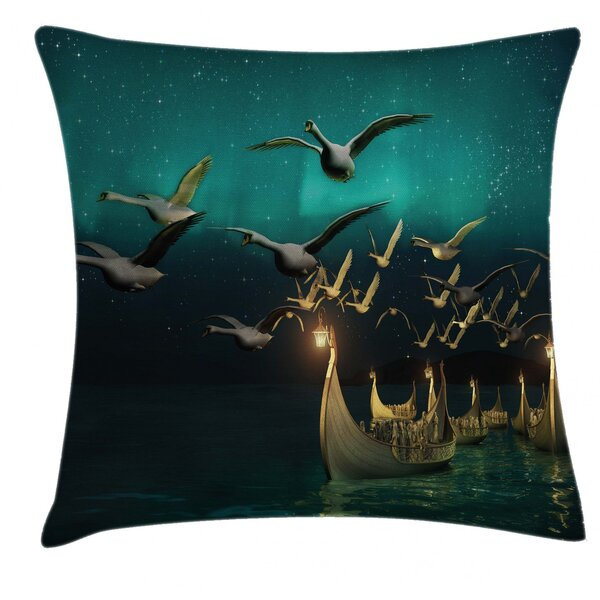 East Urban Home Ambesonne Fantasy Throw Pillow Cushion Cover Medieval Boats Birds Flying Mystical Adventure Illustration Decorative Square Accent Pillow Case 26 X 26 Sand Brown Dark Teal Wayfair
