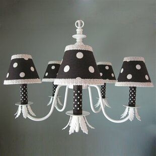 Chocolate and Natural Dottie 5-Light Shaded Chandelier by Silly Bear Lighting