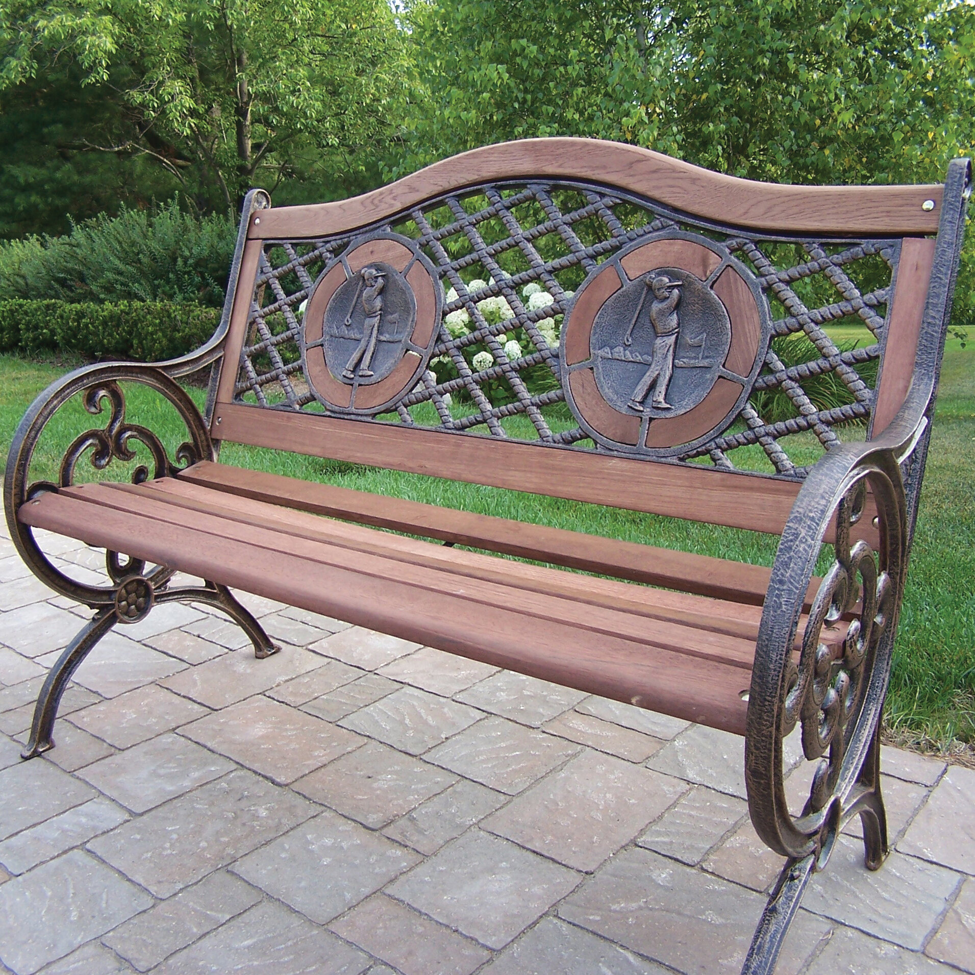 Oakland Living Double Golfer Cast Iron And Wood Park Bench Wayfair
