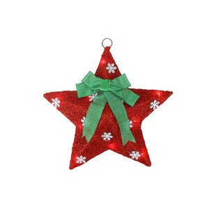 Sisal Hanging Christmas Star Window Decoration with Bow