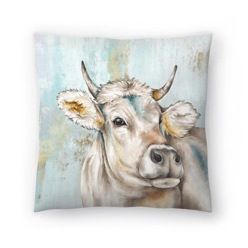 East Urban Home Headstrong Cow I Throw Pillow Wayfair