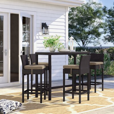 Brentwood 5 Piece Bar Height Dining Set With Cushions by Sol 72 Outdoor Best Design