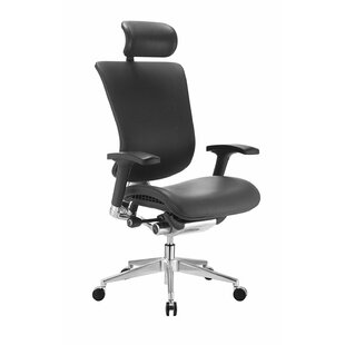 Symple Stuff Ergonomic Genuine Leather Executive Chair With Headrest
