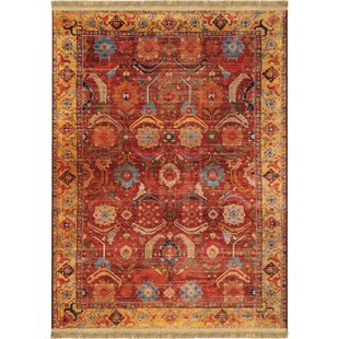 Shipley Rust/Red Area Rug with Beige Fringe by World Menagerie