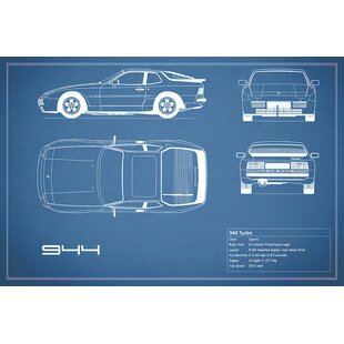 'Porsche 944 Turbo' Graphic Art Print on Canvas in Blue ByEast Urban Home