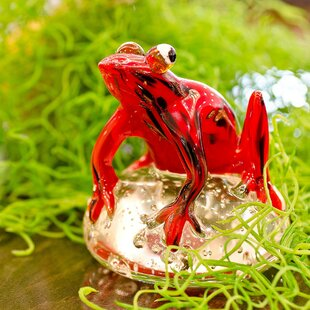 Glass Jungle Frog Paperweight By Home Essence