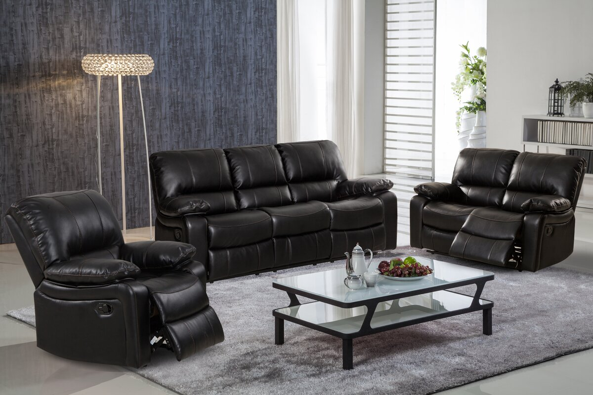 black leather living room set. Layla 3 Piece Leather Living Room Set In Style  Reviews