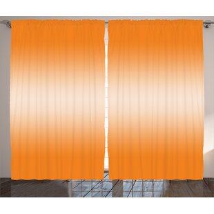 Gonzalo Ombre Beach Desert Hot Summer Inspired with Ray in Middle Orange Colored Modern Design Graphic Print & Text Semi-Sheer Rod Pocket Curtain Panels (Set of 2) by Harriet Bee