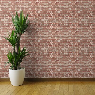 Williston Forge Tariq 27ft L x 24in W Brick Wallpaper - Antique Red Brick Wall Faux Brick Old Weathered Brick Building Construction Kids - Traditional